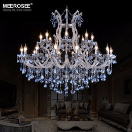 Discount large hotel chandeliers - Large European style crystal candle lamp 24-light colored glass massive chandelier hotel hallway decorative lighting fix