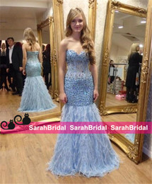 Barato Vestidos De Noite Feitos De Penas-Sparkly Prom Dresses para Sweet 16 Girls Formal Dance Wear Venda Cheap Custom Made Fashion Dusty Pale Blue Long Feathers Luxury Evening Gowns