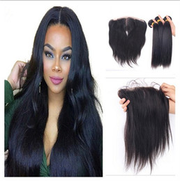 $enCountryForm.capitalKeyWord Canada - Free Middle 3 Way Part 13x4 Lace Frontal Closure With Bundles 4Pcs Lot Brazilian Straight Human Hair Weave Bundles With Full Lace Frontal