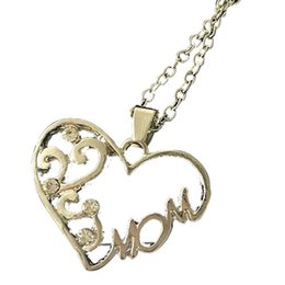 Discount mum pendants - New Mom Charm Silver Crystal Chain Heart Pendant Necklace Love Mother's Day Gift Fashion Jewelry for Mum