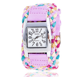 Wholesale rainboW Watch online shopping - DHL Fashion ladies woven square table Rainbow weaving wide watch Han edition broadband fashion watches