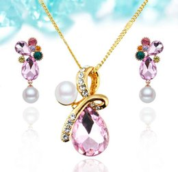 Top China Wholesale Fashion Jewelry NZ - Fashion Crystal Pearl Jewelry Set For Women Best Jewelry Gift TOP Quality Necklace Earrings Set Factory Wholesales 2016042-036