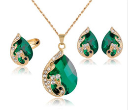 peacock green jewelry 2019 - New Fashion 18k Gold Plated Jewelry Water Drop Crystal Peacock Bridal Wedding Jewelry Sets HJIA848 cheap peacock green j