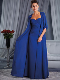 $enCountryForm.capitalKeyWord Australia - Two Parts Dresses Suit Plus Size Mother Of Bride Blue With A Long Jaket Softly Sweetheart Neckline Long Evening Gowns