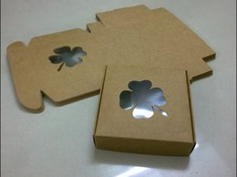 $enCountryForm.capitalKeyWord Canada - 3.5*3.5*1 Inches Brown Kraft Paper Gift Package Boxes Folder ~ Four-Leaved Clover & clear film Window JCT ECO®