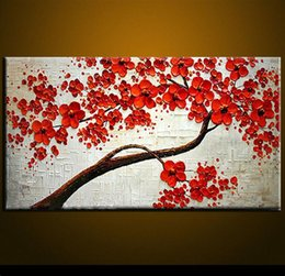 Unframed canvas red flowers online shopping - Modern Abstract Canvas Art Wall Decor Oil Painting on canvas quot Red Flowers quot No Frame