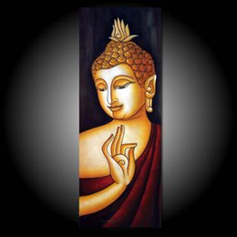 "buddha oil canvas UK - Framed, Free Shipping, Modern Canvas,Pure Hand Painted "" Buddha portrait "" Wall Decor art oil painting Quality canvas Multi sizes R423#"