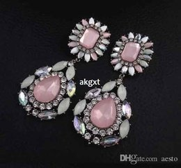 Wholesale Details about Fashion Party Jewlery Resin Rhinestone Flower Big Water Drop Dangle Earring D591