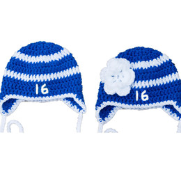 $enCountryForm.capitalKeyWord UK - Crochet Lightning Baby Hockey Hat,Handmade Crochet Baby Boy Girl Twins Blue Striped Sports Hat,Infant Toddler Photo Prop,Baby Shower Gifts