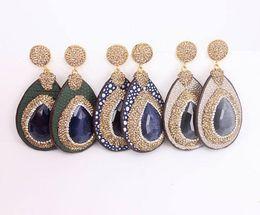 $enCountryForm.capitalKeyWord UK - 3 Pairs Fashion Natural Druzy Cat Eye Stone Paved Golden Rhinestone Earrings,Charm Leather Gemstone Drop Earrings Dangle Earrings for Women