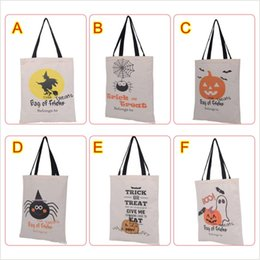 gift cloth tote bags wholesale Canada - Newest Halloween Gift Bag with Black Handle For Women Girl Pumpkin Shopping Tote Bags Festival Gifts Bag 36X48CM c076