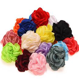 Girls hair rosettes online shopping - Burning Flowers Satin Roll Flower Artificial Rose Flower for Hair Accessories Baby Girls Rosette flower for Hair bows