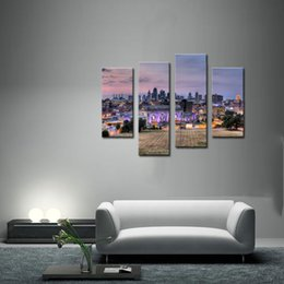 City Landscape Canvas Paintings Wall Art Decor Vancouver Cityscape At Night 4 Panels Picture Print On For Modern Home Decoration