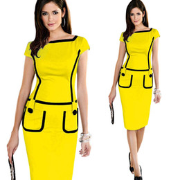 d066e4897d Nuevo 2016 mujeres se visten de bolsillo oficina de diseño vestido de  trabajo vestido de manga corta vestido formal lápiz de la vendimia vestido  azul hasta ...