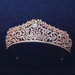 Gold Plated Wedding Crown Bridal Bridesmaid Flower Girls Crystal tiara Rhinestone crown headband Wedding Dress Studio Tiara Molding on Sale