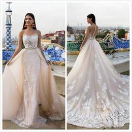 Venta al por mayor de 2018 Champagne apliques sirena vestidos de novia Sheer Jewel Sweep Train vestidos de novia vestido de novia Milla Nova con falda desmontable