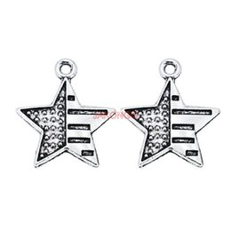 China Antique Silver Plated Star Flags Charms Pendant Bracelet Necklace Jewelry Accessories Making Handmade DIY 20mm cheap making accessories suppliers