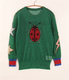 Wholesale Green Women s Pullovers Ladybug Butterfly Embroidery Star Autumn High Quality Long Sleeves Women s Sweaters