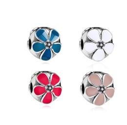 Пять лепестков цветок Серебряная эмаль бусины для Pandora Шарм шарик 3 мм змея цепи браслет мода женщины ювелирные изделия европейский стиль