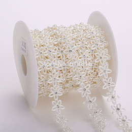 Chain Trimmings NZ - 10yards roll Rhinestone Sewing Trim Flat Back Plastic ABS Pearl Beads String Beads White Ivory Crystal Chain For Wedding Dress
