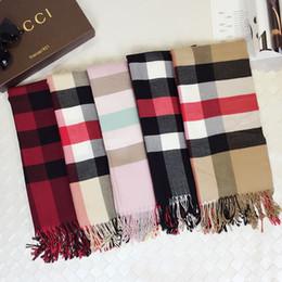 Tassel Scarf Plaid Canada - Hot!!5 Colors Women Men Tartan Scarf Warm Plaids Scarf Shawl Tassel 185*35cm Unisex Acrylic Plaids Scarves & Wraps WS0017
