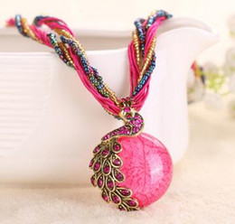 $enCountryForm.capitalKeyWord NZ - 2016 Hot Sale Fashion Summer Style Glass Cabochon Statement Necklace for Women Long Strip Pendant Necklaces Vintage Jewelry ZZS100