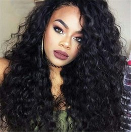 Discount cambodian hair full lace wig - Pre plucked lace front human hair wigs with baby hair water wave Cambodian full lace wig 130% density G-EASY
