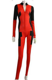 costume deadpool lycra NZ - Spandex Lycra Sexy Lady Deadpool Costume with Front Zipper for Halloween Cosplay Zentai Catsuit Custom Female Girls Women Suit