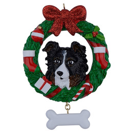 pug home decor Australia - Shepherd Wreath Resin Crafts Shiny Christmas Ornaments Hand Painted Easily Personalized as for Pug Owners gifts or home decor