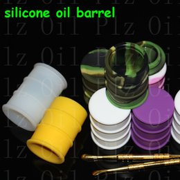 $enCountryForm.capitalKeyWord Canada - silicone oil barrel container jars dab wax vaporizer oil rubber drum shape container 26ml large silicon dry herb dabber tool silicone bong