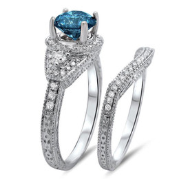Mens Wedding Rings With Side Stones For Women Fashion Silver Jewelry Blue Circular Ring Mosaic Cutting Gift Party Club Discount