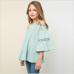 Barato Lace Rifled Jumpers-Natal Big Kids Girls Lace Ruffle Shirts Adolescente Off-shoulder Cotton Jumper Blusa 2016 Junior Fashion Outono Tops bebe clothes