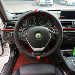 Audi Tt Carbon Fiber NZ - 38CM Car Styling Steering Wheel Cover Interior Decor Carbon Fiber Sport Cover For AUDI A1 A3 A4 A5 A6 A7 A8 RS R8 TT Q3 Q5 Q7