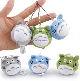 6cm plush Canada - Free Shipping 30 Pcs  Lot 3 Colors 6CM My Neighbor Totoro Strap Plush Cell Phone Doll Stuffed Toys