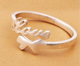 Love Word  Sterling Silver Ring Open Adjustable Size Dont Fade Factory Direct Selling High Quality Wedding Ring Birthday Gift Box