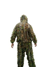 airsoft clothing 2019 - Hunting clothes New 3D maple leaf Bionic Ghillie Suits Yowie sniper birdwatch airsoft Camouflage Clothing jacket and pan
