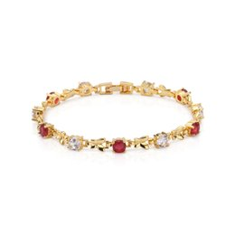 Circle Shaped Beads Canada - Kingly Womens 18k Yellow Gold Plated Ruby and Clear Cubic Zirconia Crescent Moon Shape Tennis Bracelet Free Shipping