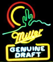 "Neon Sun Glasses NZ - Miller Genuine Draft Sun with Cactus Neon Sign Handmade Custom Real Glass Tube Beer Bar PUB Store KTV Display Neon Signs 14""X17"""