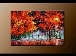 mural paintings oil Australia - Framed Hot Sell 100% Hand painted Mural Palette Thick oil Color Knife Fall Style oil painting Modern Living Room Home Decoration Canvas DH35