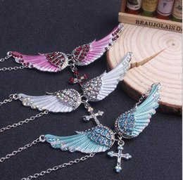 mens angel wings pendant NZ - Mens Iced Out Necklace Marquise Crystal Rhinestone Angel Wings Necklaces Pendants Neutral Wing Pendant Hip Hop Necklace Jewelry Gift D0212