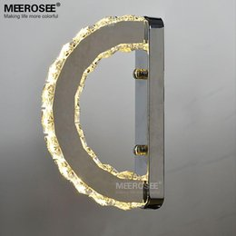 Discount Crystal Bathroom Light Fixtures Modern LED Wall Light Fixture  Crystal Wall Sconce Lustres D Shape