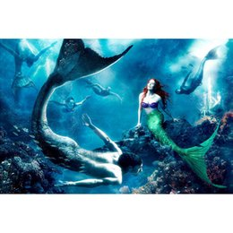 Scroll Kits NZ - Little Mermaid Full Drill DIY Mosaic Needlework Diamond Painting Embroidery Cross Stitch Craft Kit Wall Home Hanging Decor