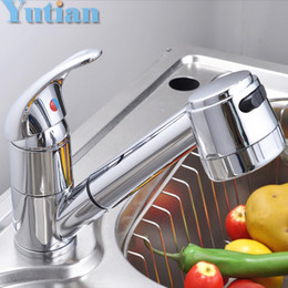Free Shipping Pull Out Faucet Copper E Single Hole Kitchen Faucet Sink Tap  Thickening Type Chrome Finish Torneira YT 6040