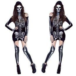 Cosplay Cool Living Dead Skeleton Costume off shoulder Black Skeleton Dress Ghost Costume Stage Uniform Halloween Costumes for Women