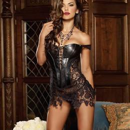 c2680c3323 S-6XL Plus Size Corset Women Faux Leather Lace Steampunk Corset Dress  Gothic Bustier Corset Sexy Corsets Bustiers lover costume