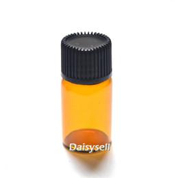 wholesale small perfume vials 2019 - 3ml Amber Bottle Orifice Reducer Plug Small Clear Vials Essential Oil Bottle Mini Clear Glass Perfume Sample Tubes Vial