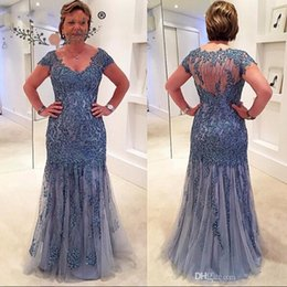 Short Sleeve navy dreSS online shopping - New Lace Beaded Appliques Mother of the Bridal Dresses V neck Illusion Back Short Sleeves Column Elegant Mother of the Bridal Dresses BC0769