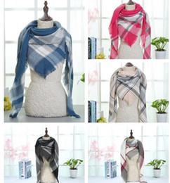 Fashion Scarves Canada - 2018 New Plaid Blankets Scarves Triangular Tartan Lattice Scarf Grid Scarf Wrap Fashion Neckerchief Winter Shawl Checked Pashmina 40 Design