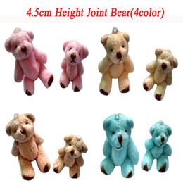 Doll Bulk Canada - Bulk 4color 4.5cm Mini Joint Bear Lovely Plush Teddy Bear Doll Keychain Bouqeut Phone jewellery accessory gift Pendant Cartoon Stuffed Toy