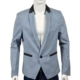 Hommes Blazer À Bas Prix Pas Cher-Gros-Cheap Fashion Grey et Wedding Bureau Dinner Party Costume bleu hommes de conception classique Groom Smokings Groomsmen mariage Blazer Suit